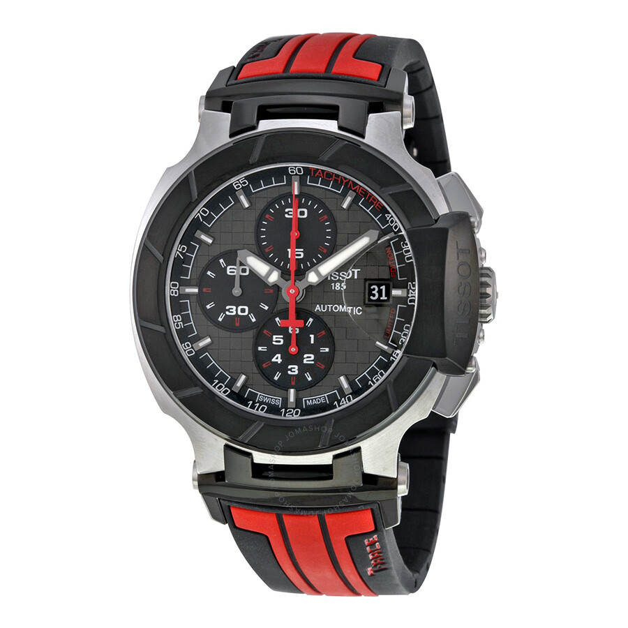 tissot t race motogp chronograph automatic grey dial black. Black Bedroom Furniture Sets. Home Design Ideas