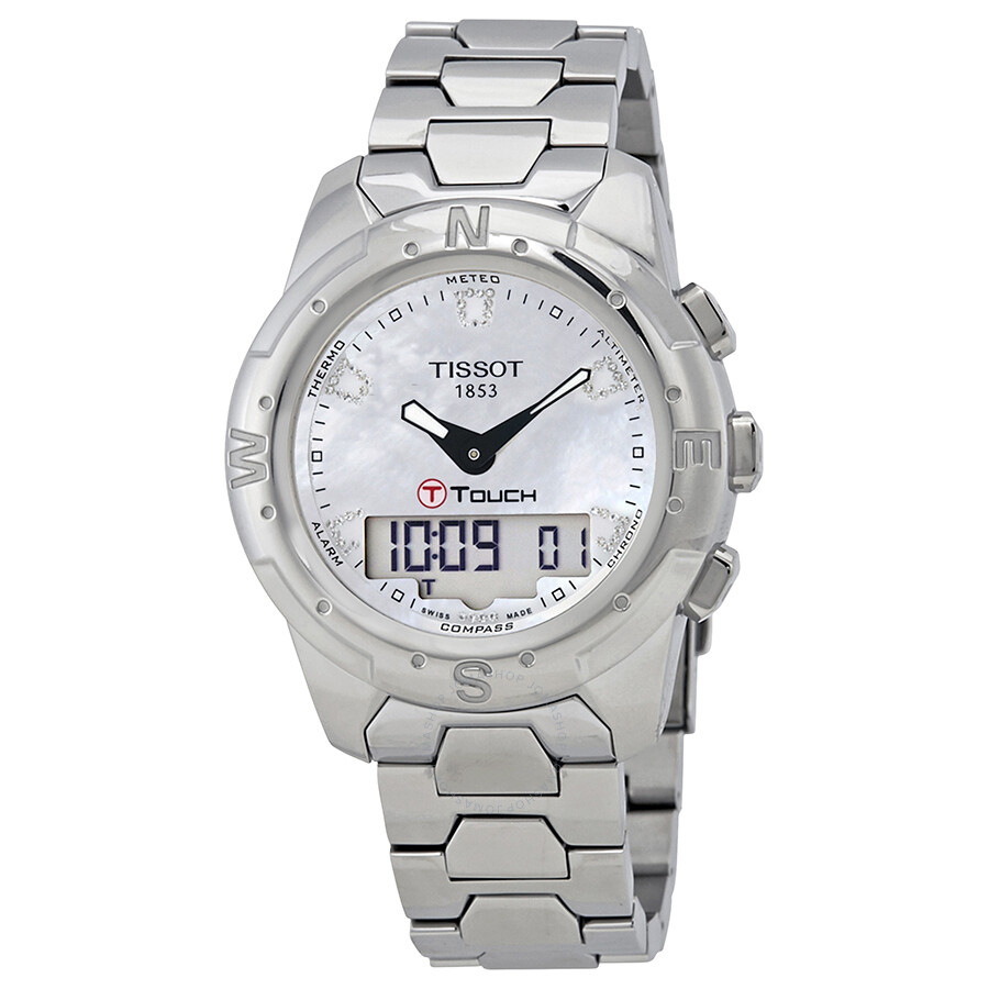 Tissot T-Touch II Mother of Pearl Dial Titanium Ladies Watch T047.220.44.116..