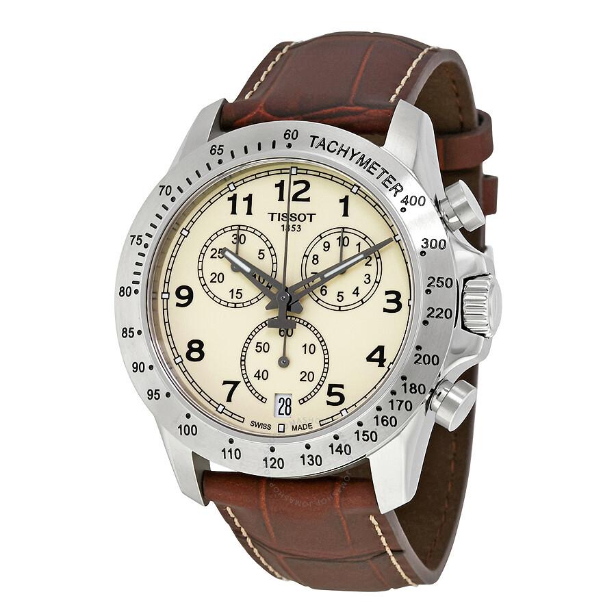 tissot male tissot v8 chronograph ivory dial mens watch t1064171626200