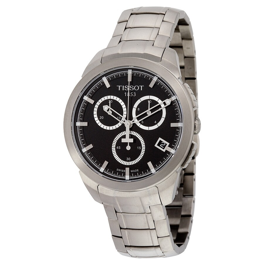Open Box - Tissot T-Sport Chronograph Black Dial Titanium Mens Watch T069.41..