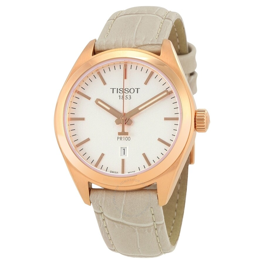 Open Box - Tissot PR100 Silver Dial White Leather Ladies Watch T101.210.36.0..