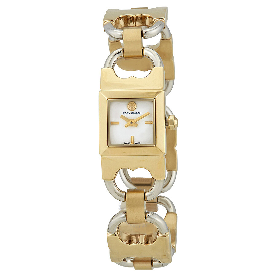 Tory Burch Double-T Link Beige Dial Two-tone Ladies Watch TB5401