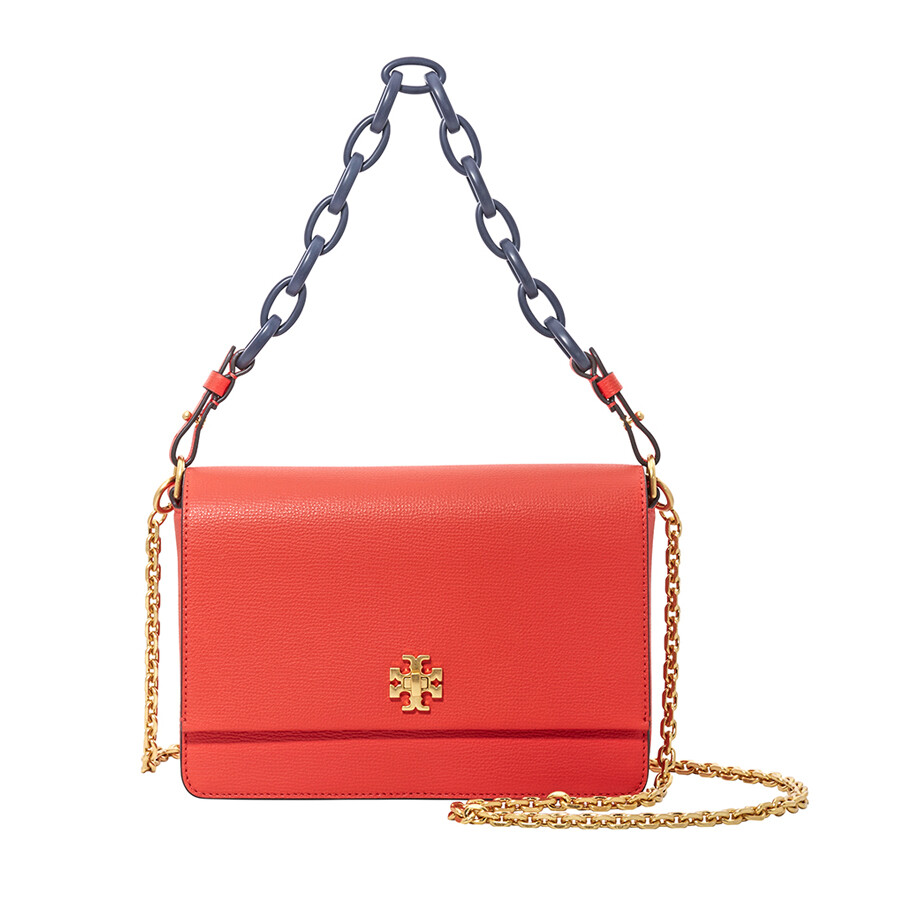 2cf9391b3411 ... low price tory burch kira italian leather shoulder bag poppy red navy  48820 2f147