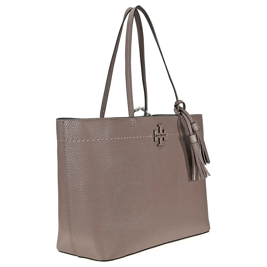 Tory Burch Mcgraw Leather Tote Silver Maple Malachite
