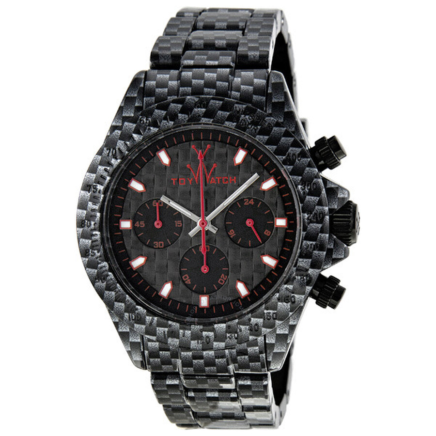 Toy Watch Imprint Chronograph Printed Black Bracelet Unisex Watch FLE05CA