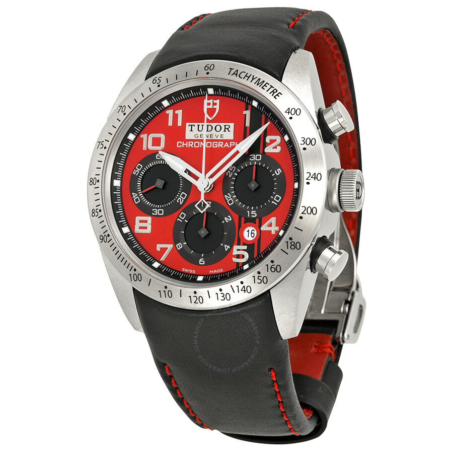 Tudor Fastrider Ducati Red Dial Chronograph Black Leather Mens Watch 42000D-DUC