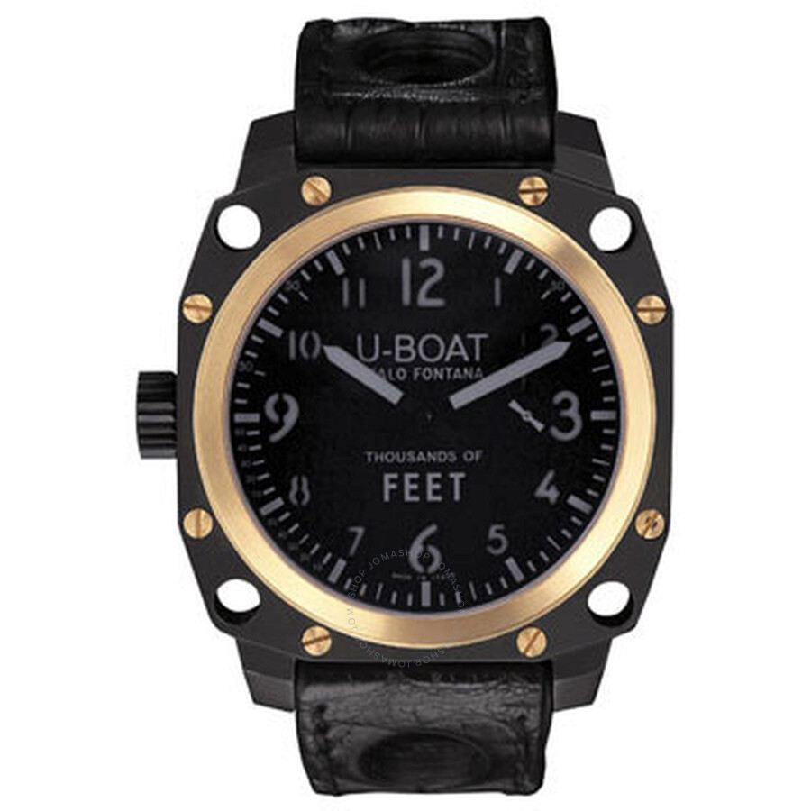U Boat Thousands of Feet Black Dial 18kt Yellow Gold Black Leather Mens Watch 5328