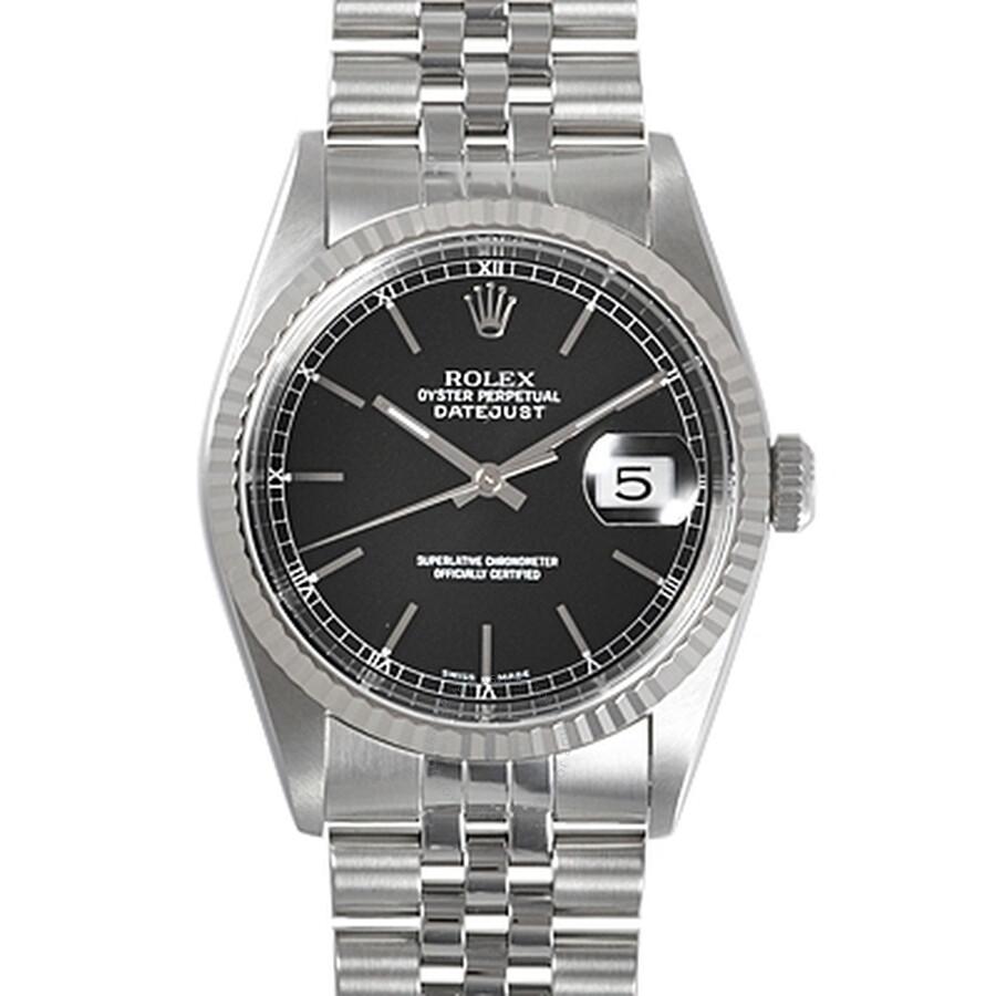 Pre-owned Rolex Datejust Black Dial Stainless Steel Jubilee Bracelet Mens Wa..