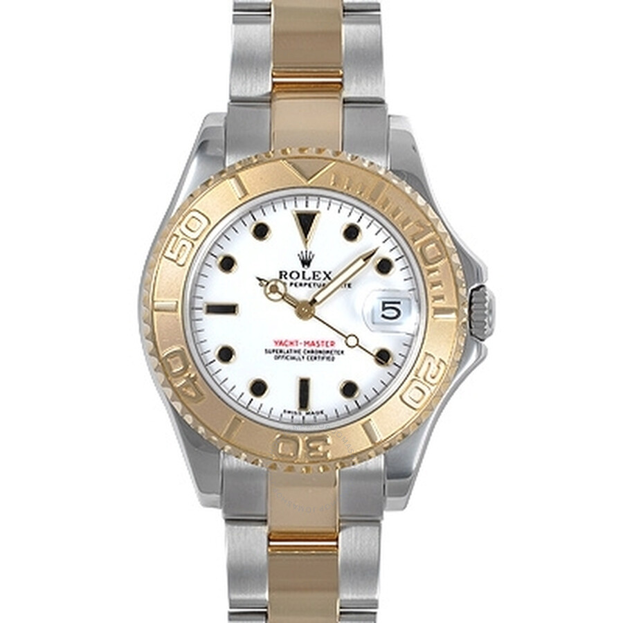 Pre-owned Rolex Yachtmaster White Dial Bracelet Two-Tone Mens Watch 168623WSO