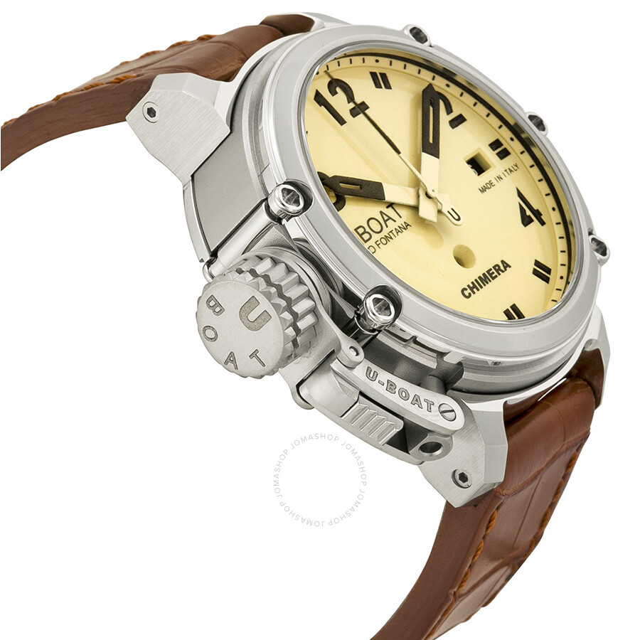 ... U-Boat Chimera Automatic Beige Dial Brown Leather Watch 7227 ...
