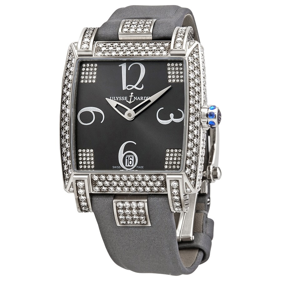 Ulysse Nardin Caprice Anthracite Grey Dial Satin Strap Automatic Ladies Watc..