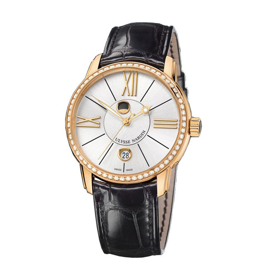 Ulysse Nardin Classico Luna Black Dial 18kt Rose Gold Automatic Mens Watch 8296-122B-2-41