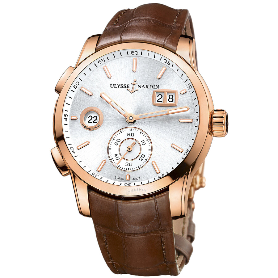 Ulysse Nardin Dual Time Silver Dial 18kt Rose Gold Mens Watch 3346-126-91