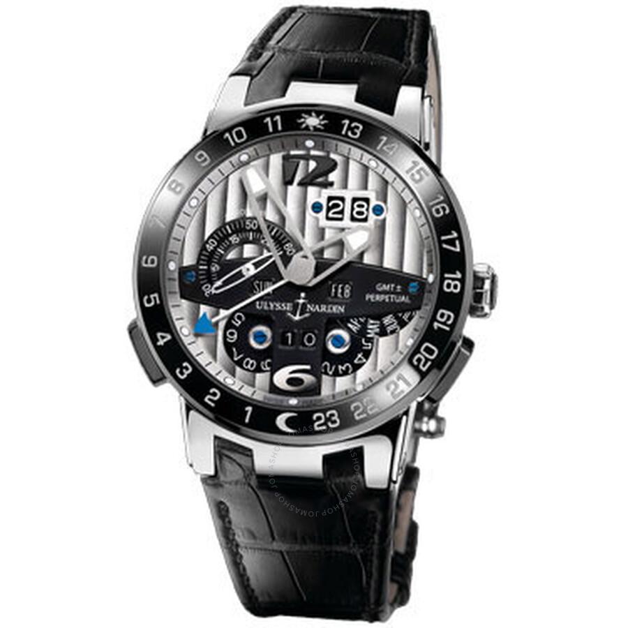 Ulysse Nardin El Toro GMT Silver Dial Platinum Black Leather Mens Watch 329-00