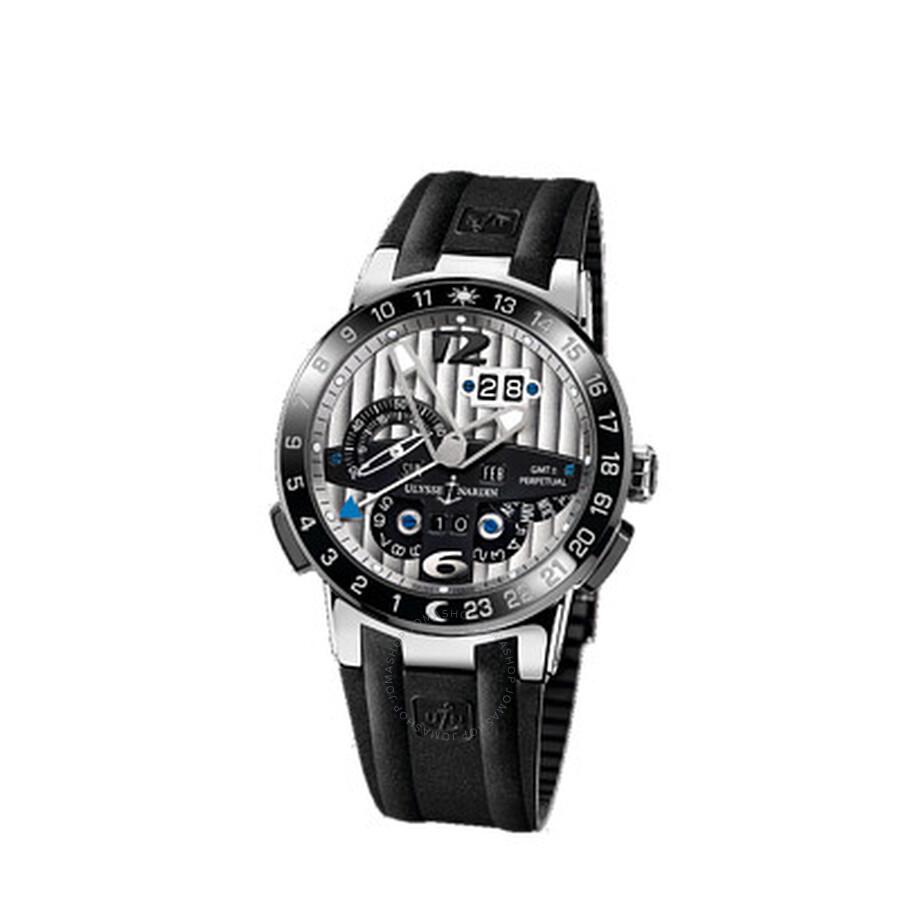Ulysse Nardin El Toro GMT Silver Dial Platinum Black Rubber Mens Watch UN329..