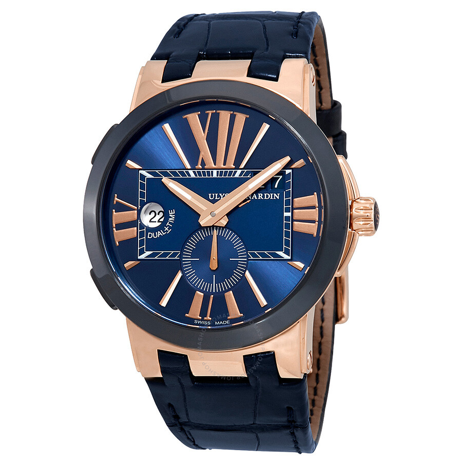 Ulysse Nardin Executive Dual Time Automatic Blue Dial Mens Watch 246-00/43