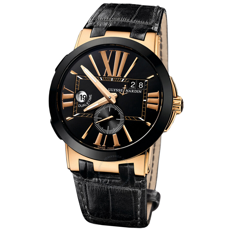 Ulysse Nardin Executive Dual Time Black Dial 18K Rose Gold Automatic Mens Watch 246-00-5-42