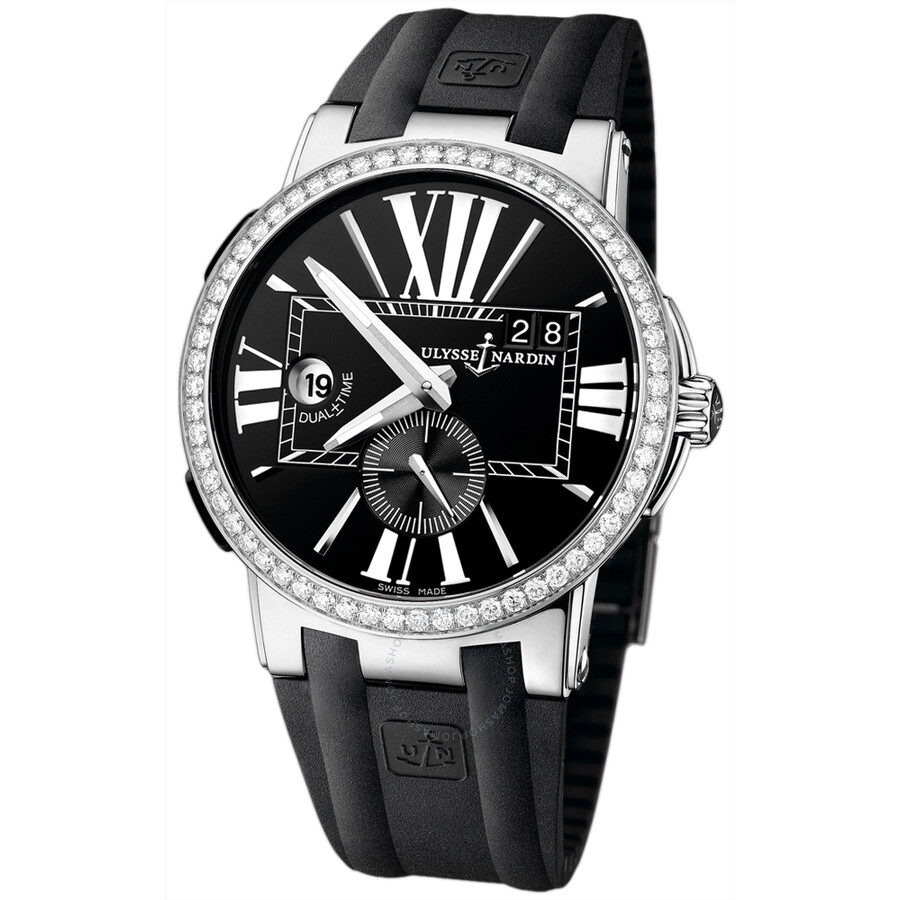 Ulysse Nardin Executive Dual Time Black Dial Diamond Bezel Black Leather Mens Watch 243-00B-3-42
