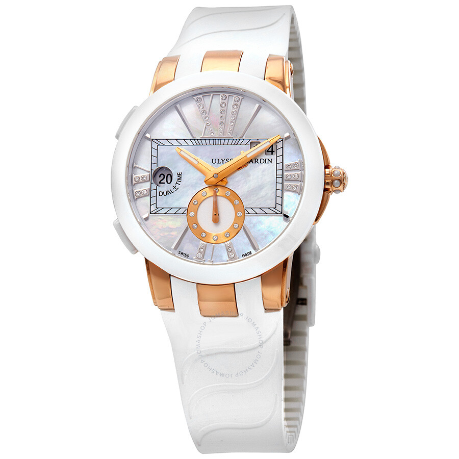 Ulysse Nardin Executive Dual Time Lady Mother of Pearl Dial Rubber Strap Aut..
