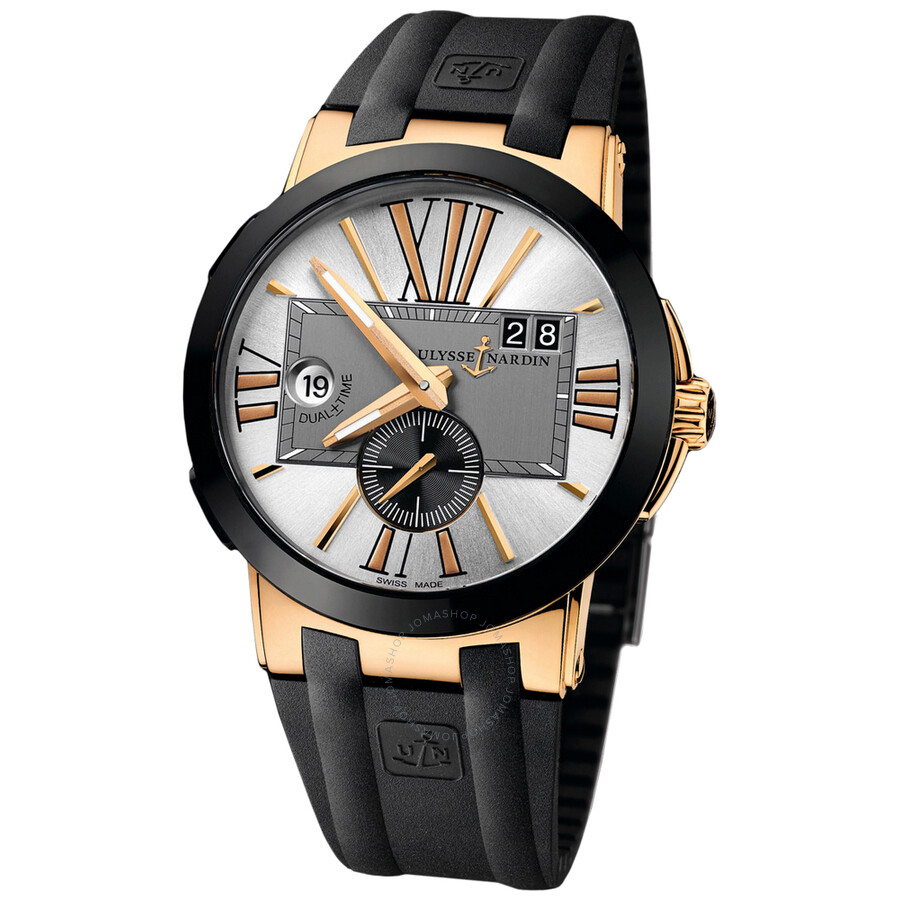 Ulysse Nardin Executive Dual Time Rubber Straps Automatic Mens Watch 246-00-3-421