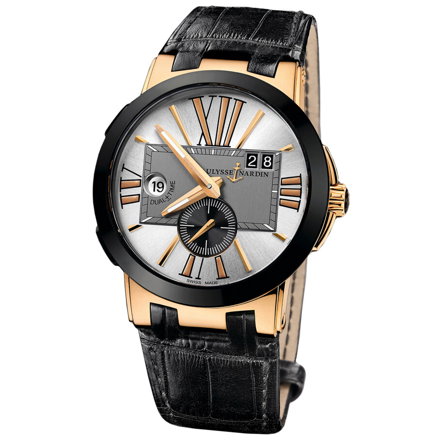 Ulysse Nardin Executive Dual Time Silver Dial Leather Strap Automatic Mens Watch 246-00-5-421