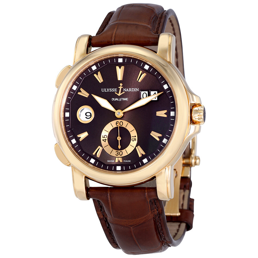Ulysse Nardin GMT Big Date Brown Dial 18K Rose Gold Automatic Mens Watch 246-55-95