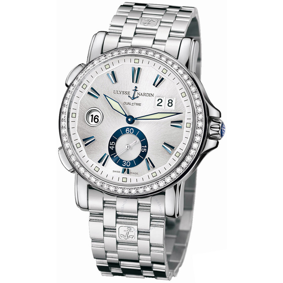 Ulysse Nardin GMT Big Date Silver Dial Stainless Steel Diamond Automatic Mens Watch 243-55B-7-91