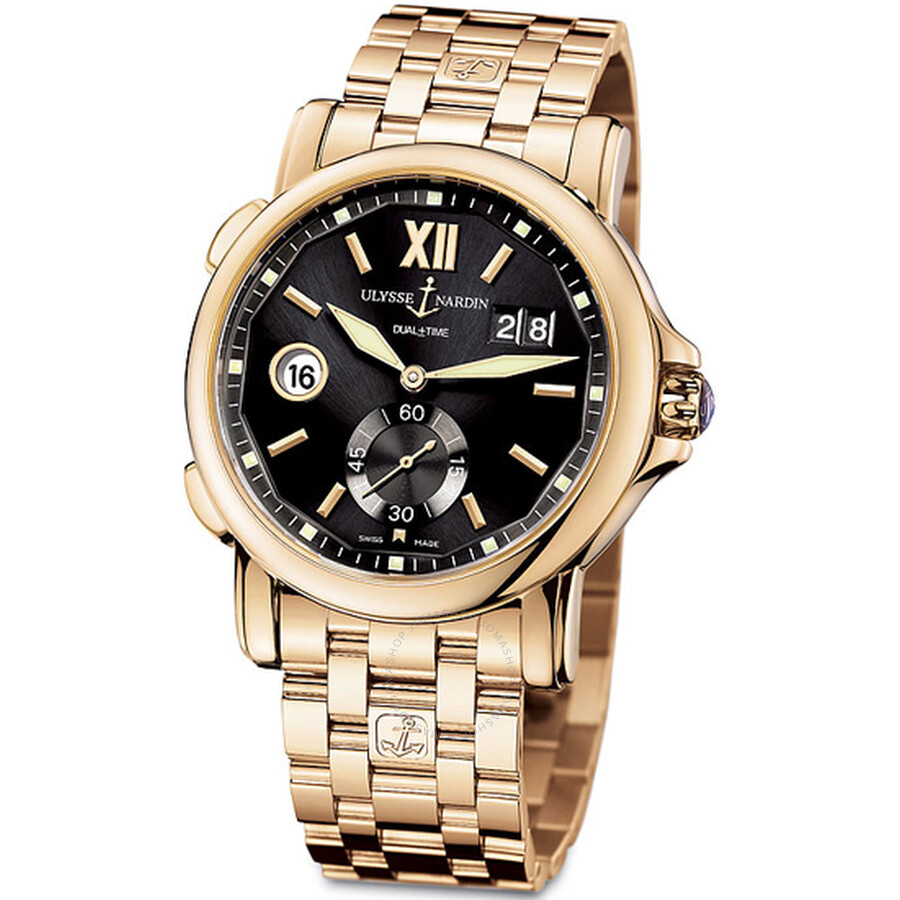 Ulysse Nardin GMT Dual Time Black Dial 18kt Rose Gold Automatic Mens Watch 246-55-8-32