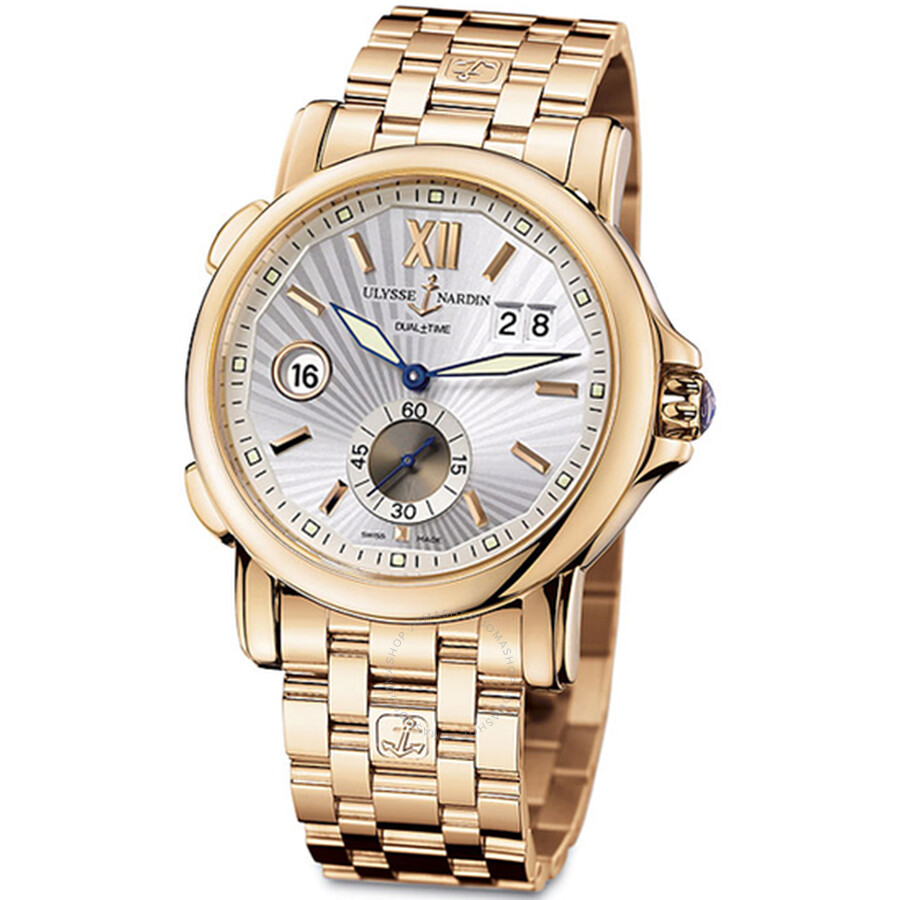 Ulysse Nardin GMT Dual Time Silver Sunray Dial 18kt Polised Rose Gold Automatic Mens Watch 246-55-8-