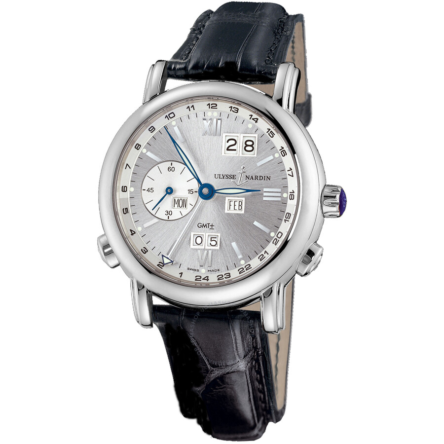 Ulysse Nardin GMT Perpetual Anthracite Dial Leather Strap Automatic Mens Watch 320-82-31