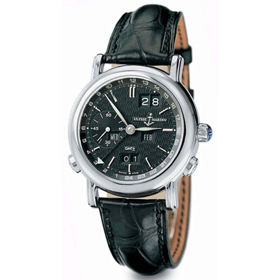 Ulysse Nardin GMT Perpetual Black Dial 18kt White Gold Black Leather Mens Watch 320-22-92