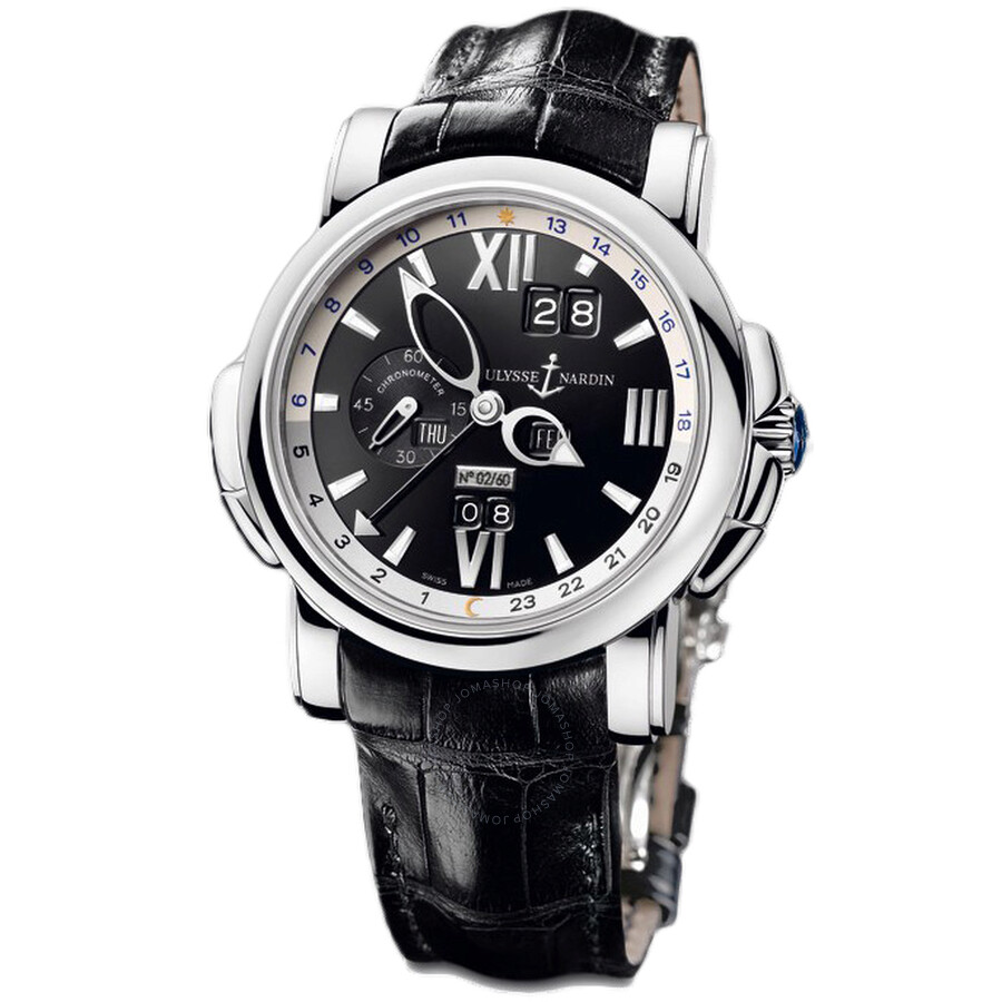 Ulysse Nardin GMT Perpetual Black DIal 18kt White Gold Black Leather Mens Watch 320-60-32