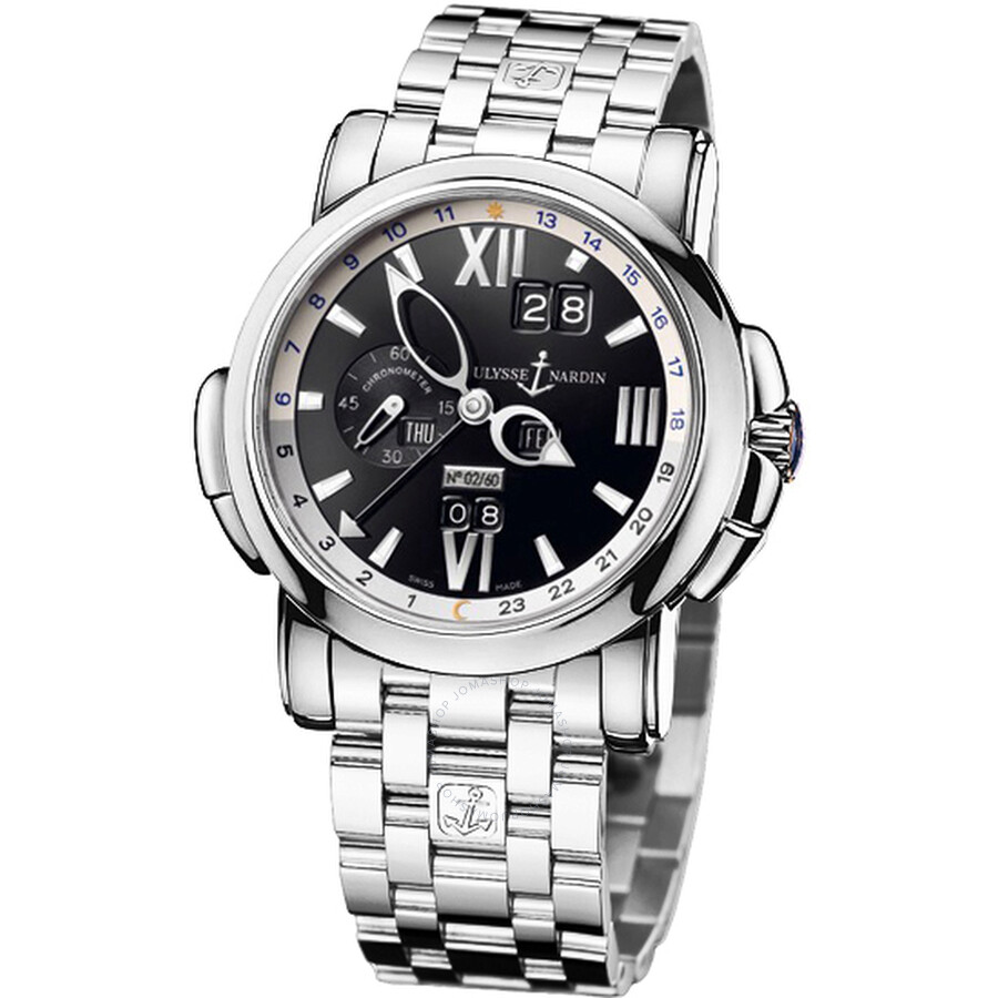 Ulysse Nardin GMT Perpetual Black Dial 18kt White Gold Mens Watch 320-60-8-32