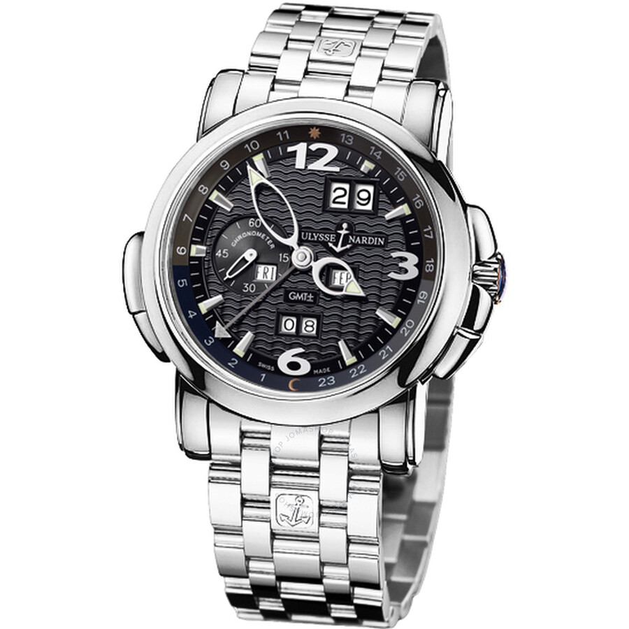 Ulysse Nardin GMT Perpetual Black Dial 18kt White Gold Mens Watch 320-60-8-62