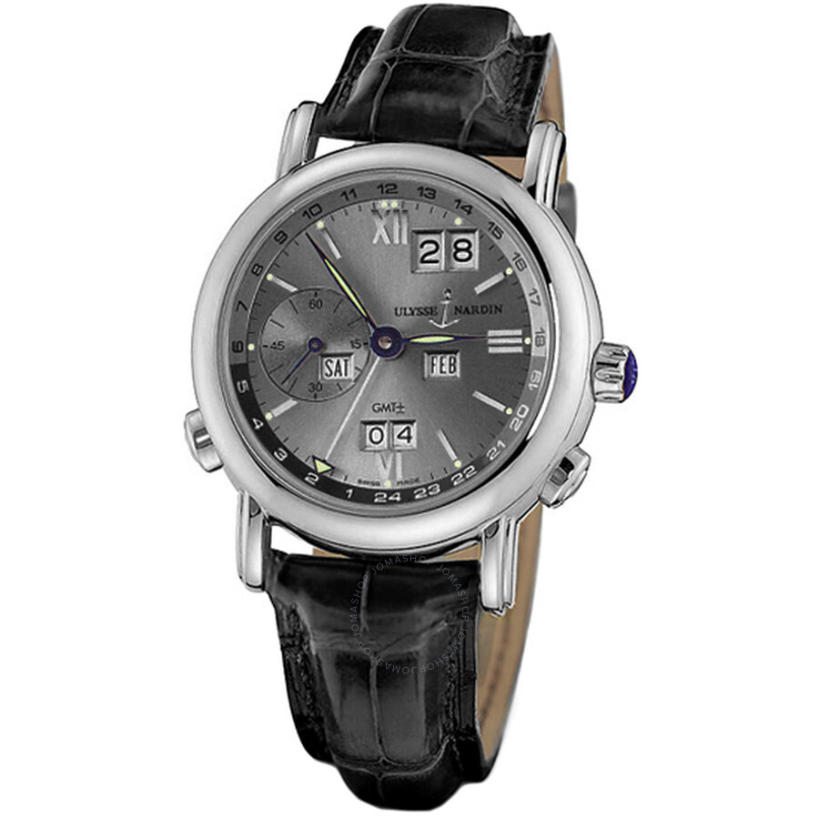 Ulysse Nardin GMT Perpetual Grey Dial 18kt White Gold Black Leather Mens Watch 320-22-32