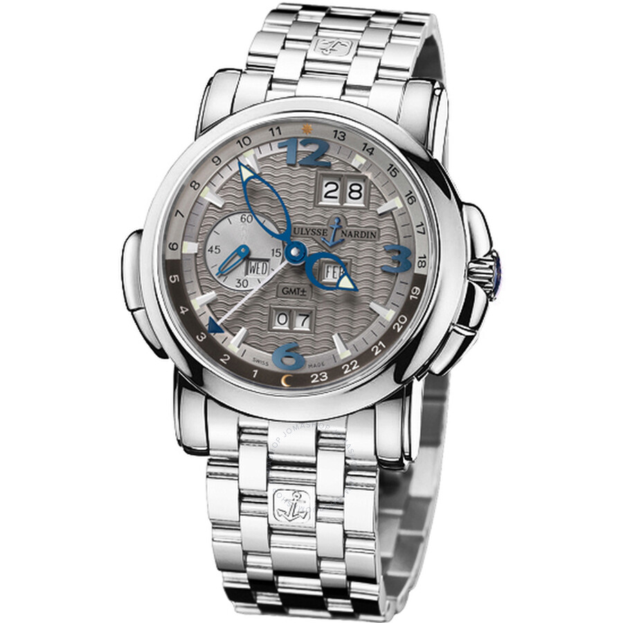 Ulysse Nardin GMT Perpetual Grey Dial 18kt White Gold Mens Watch 320-60-8-69