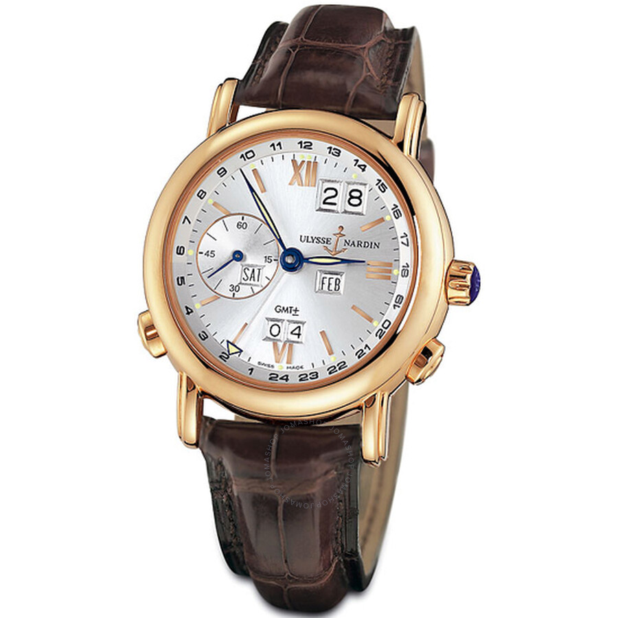 Ulysse Nardin GMT Perpetual Silver Dial 18kt Rose Gold Brown Leather Mens Watch 326-82-31
