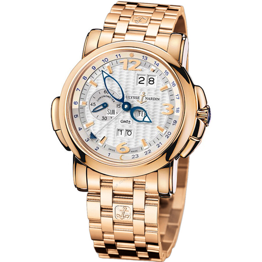 Ulysse Nardin GMT Perpetual Silver Dial 18kt Rose Gold Mens Watch 326-60-8-60