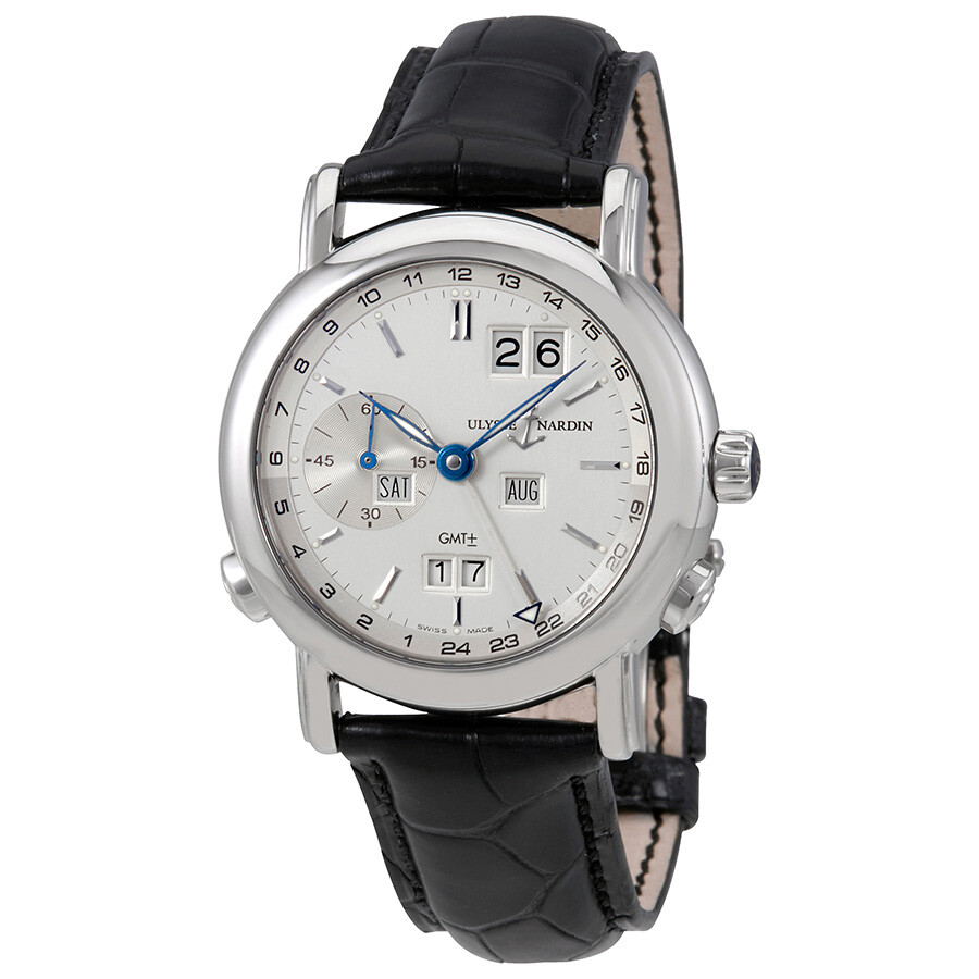 Ulysse Nardin GMT Perpetual Silver Dial 18kt White Gold Black Leather Mens Watch 320-22