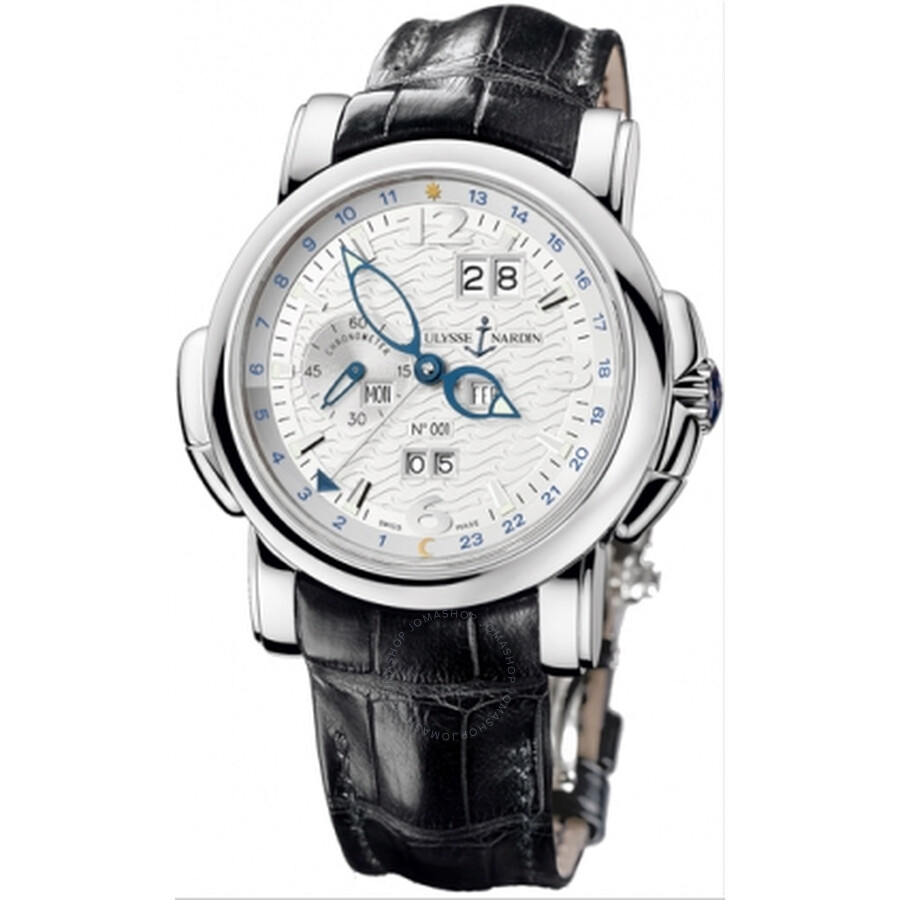 Ulysse Nardin GMT Perpetual Silver Dial 18kt White Gold Black Leather Mens Watch 320-60-60