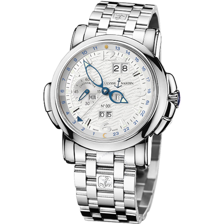 Ulysse Nardin GMT Perpetual Silver Dial 18kt White Gold Mens Watch 320-60-8-60