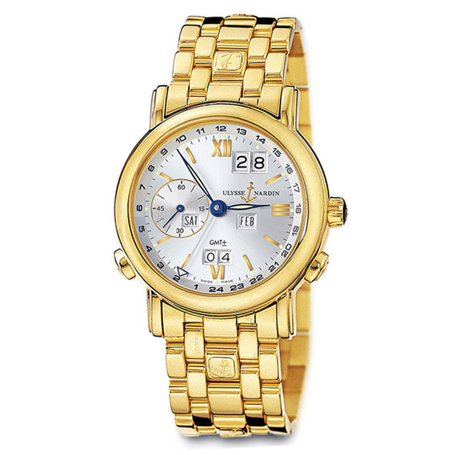 Ulysse Nardin GMT Perpetual Silver Dial 18kt Yellow Gold Automatic Mens Watch 321-22-8-31