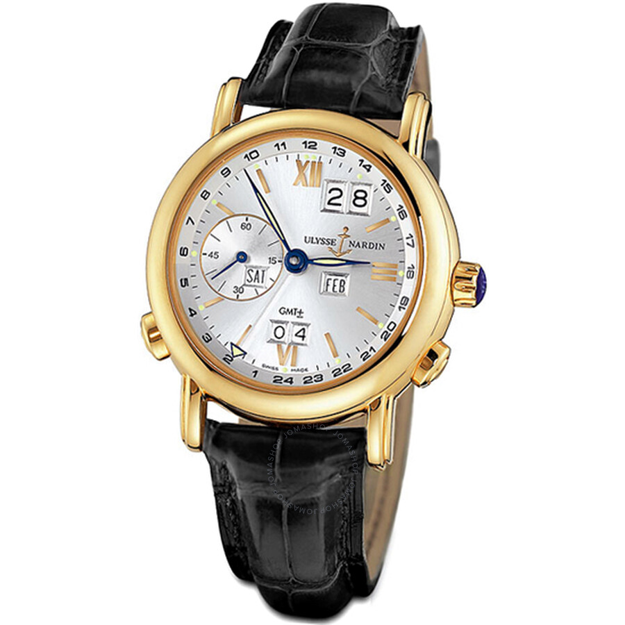Ulysse Nardin GMT Perpetual Silver Dial 18kt Yellow Gold Black Leather Mens Watch 321-22-31