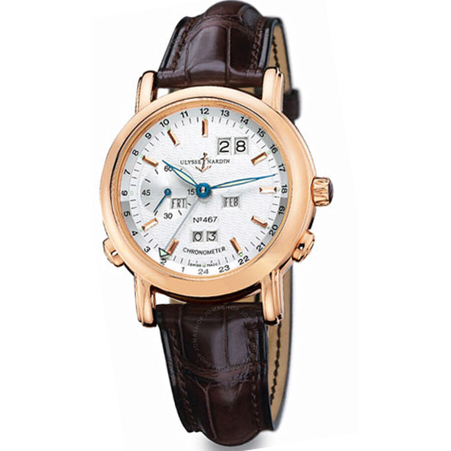 Ulysse Nardin GMT Perpetual Silver Dial 18kt Yellow Gold Brown Leather Automatic Mens Watch 322-88-9
