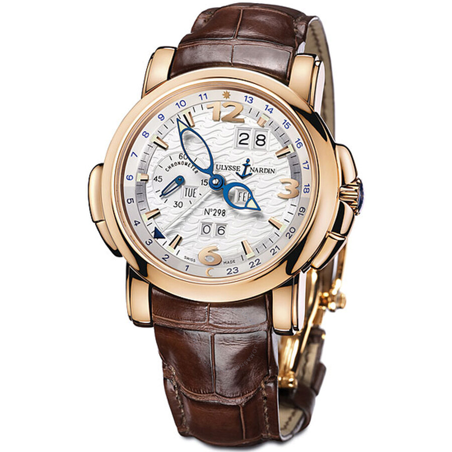 Ulysse Nardin GMT Perpetual Silver Dial Alligator Leather Automatic Mens Watch 322-66-91