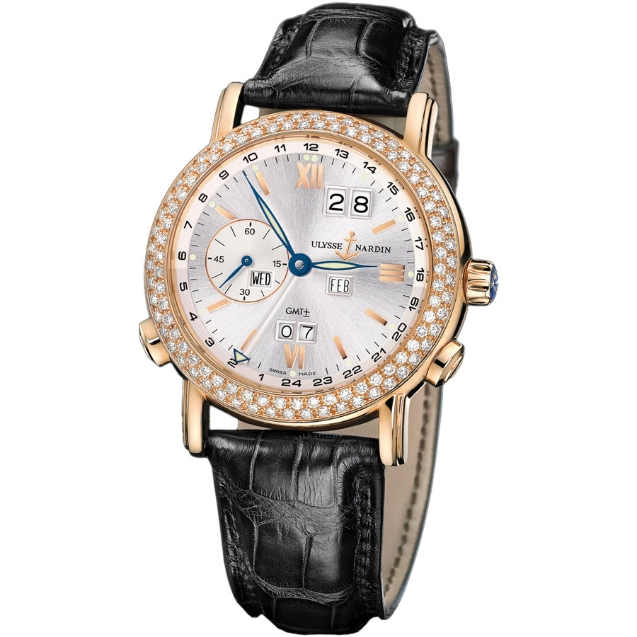 Ulysse Nardin GMT Perpetual Silver Dial Diamond Bezel 18kt Rose Gold Black Leather Mens Watch 326-28
