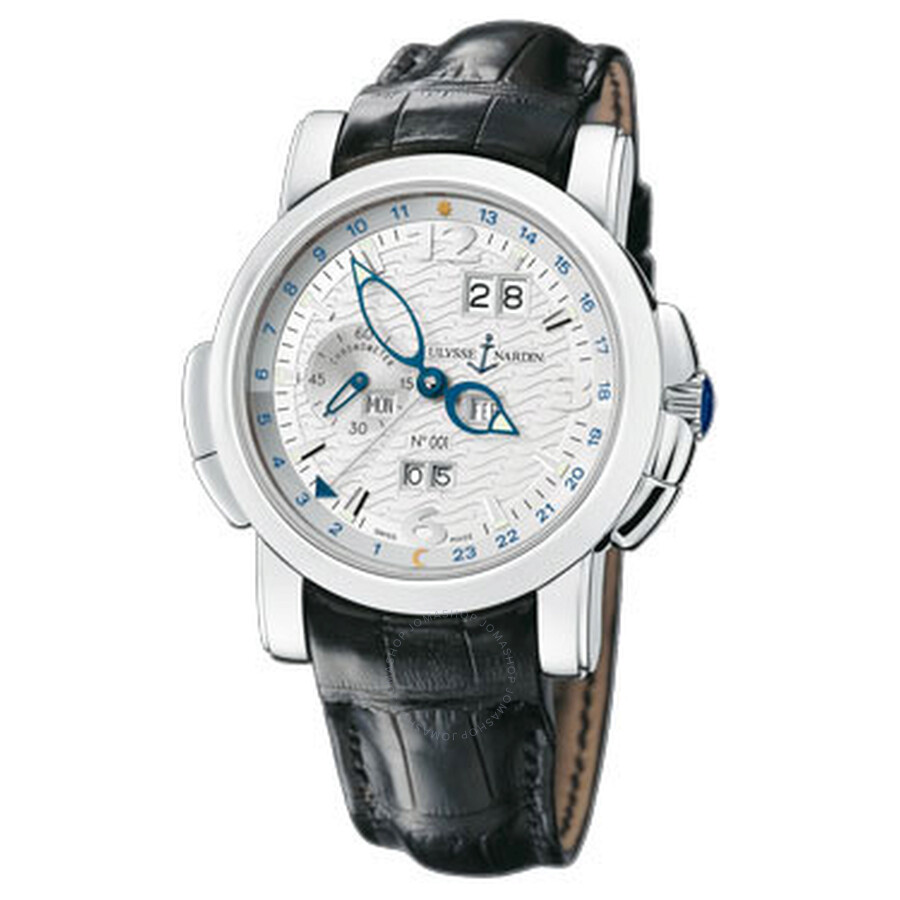 Ulysse Nardin GMT Perpetual White Guilloche Dial Leather Strap Automatic Men..