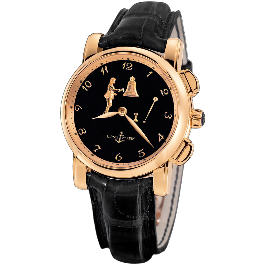 Ulysse Nardin Hour Striker Black Dial 18kt Rose Gold Black Leather Mens Watch 6106-103-E2