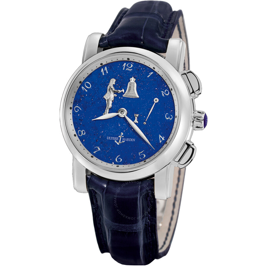 Ulysse Nardin Hourstriker Blue Dial Platinum Blue Leather Mens Watch 6109-103-E3