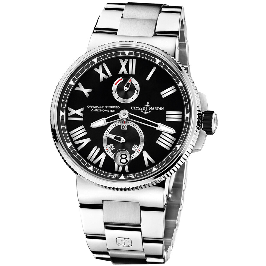 Ulysse Nardin Marine Black Dial Stainless Steel Automatic Mens Watch 1183-122-7M-42